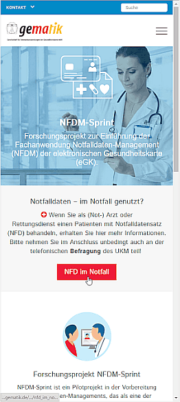 Projekt-Homepage nfdm.gematik.de